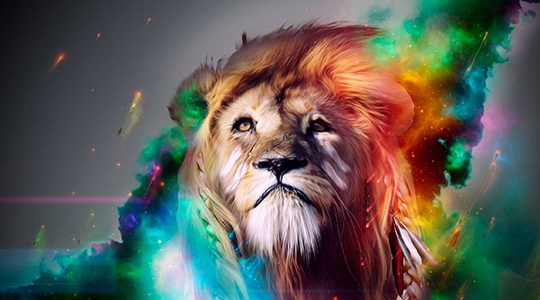 Magestic Colorful Lion